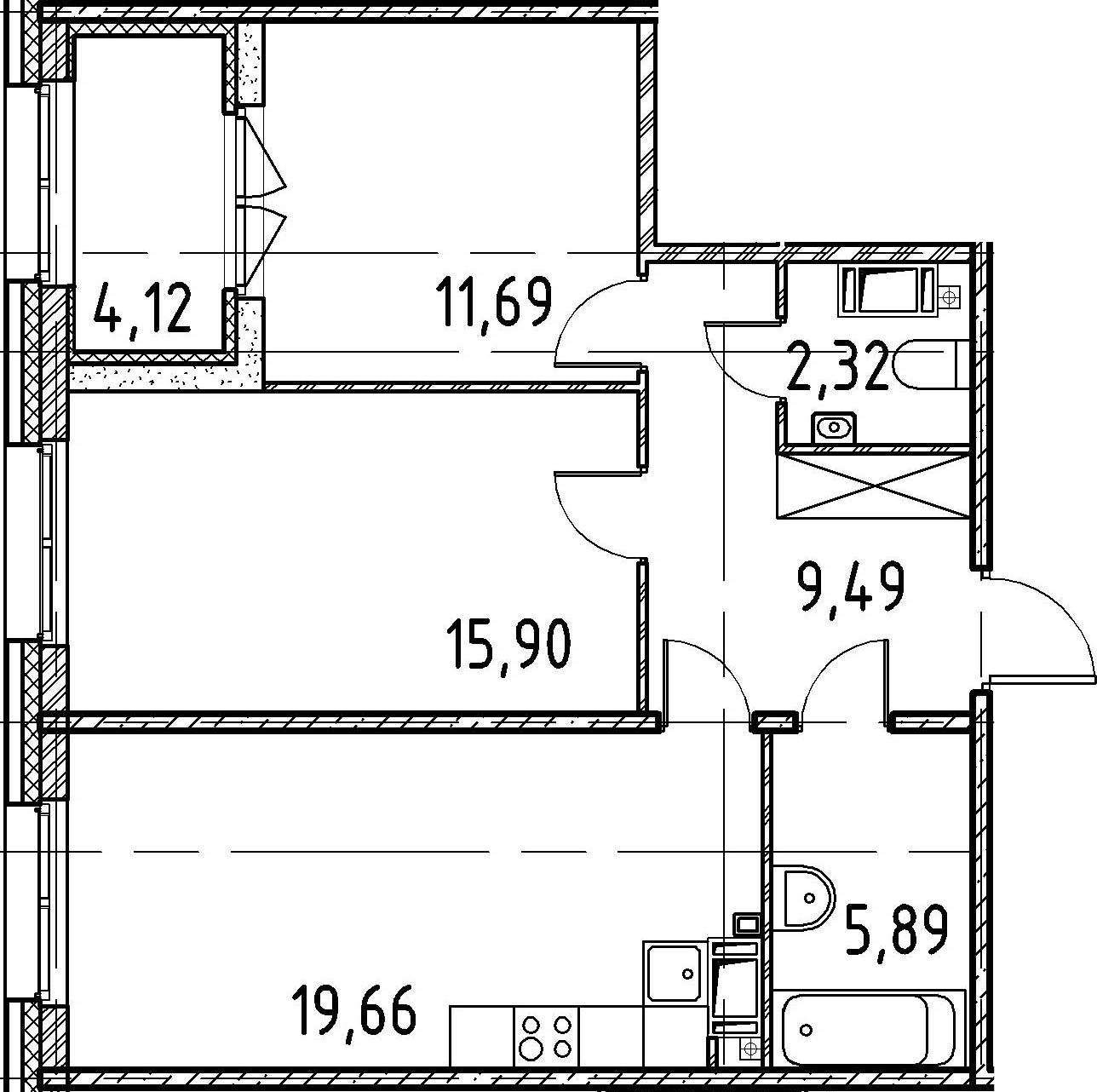 2-комнатная, 64.95 м²– 2