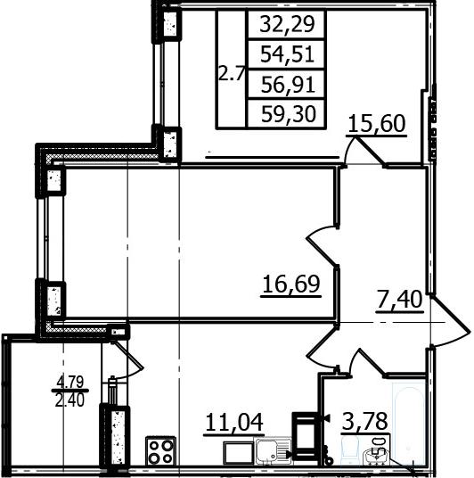 2-к.кв, 54.51 м²