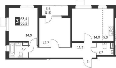 3-к.кв (евро), 67 м²