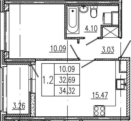 2Е-комнатная, 32.69 м²– 2