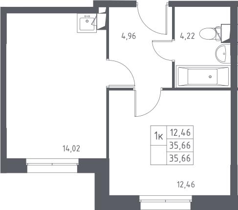 1-комнатная, 35.66 м²– 2