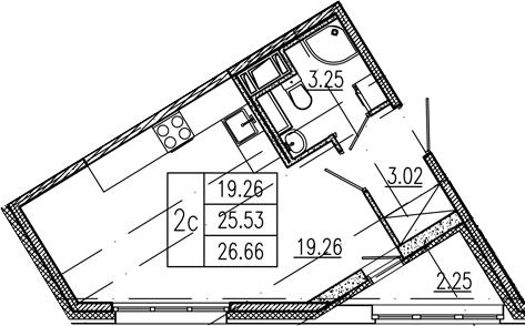 Студия, 25.53 м²– 2
