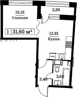 1-к.кв, 31.6 м², от 3 этажа