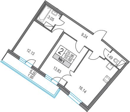 3-к.кв (евро), 62.38 м²