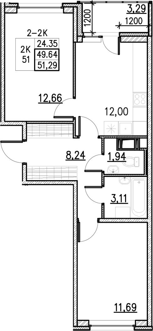 2-к.кв, 51.29 м²