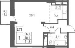 Студия, 44.1 м²