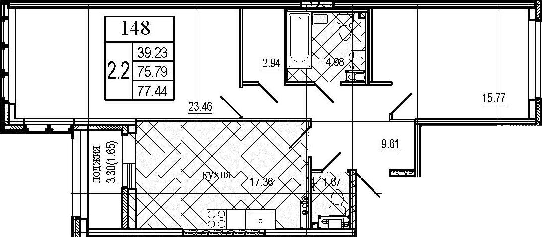 3Е-к.кв, 77.44 м²