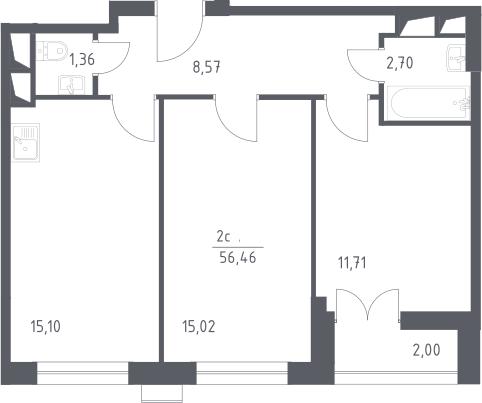 3Е-комнатная, 56.46 м²– 2