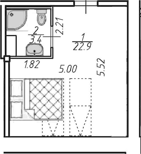 Студия, 26.3 м²– 2