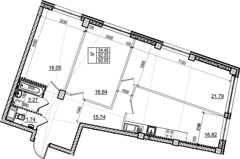 3-комнатная, 92.05 м²– 2