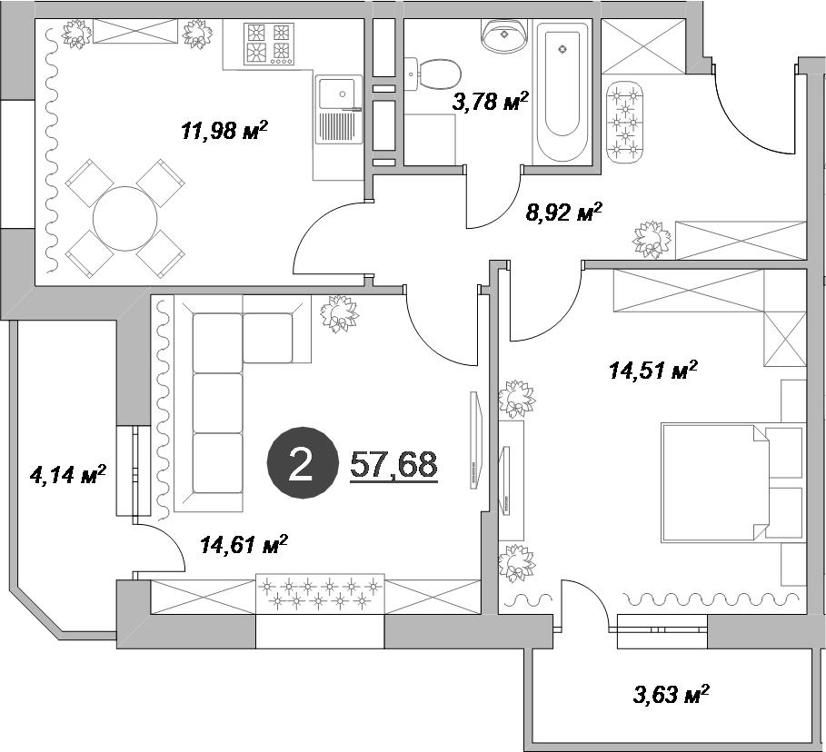 2-к.кв, 61.56 м²