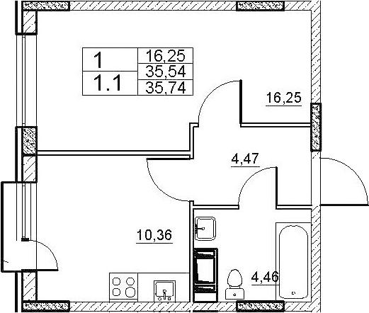 1-к.кв, 36.21 м²