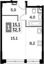 Студия, 32.3 м²