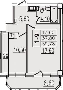 1-комнатная, 39.78 м²– 2