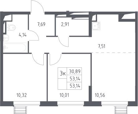 3-к.кв (евро), 53.14 м²