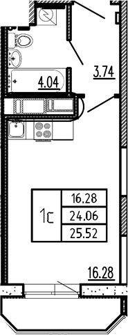 Студия, 25.52 м²