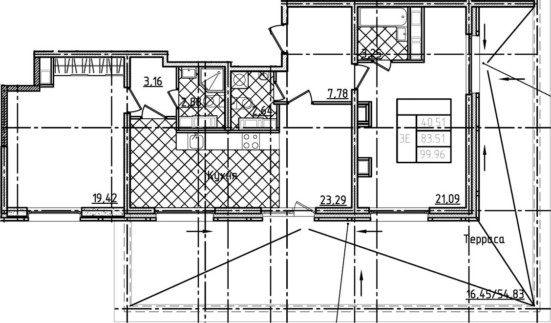 3Е-к.кв, 99.96 м²