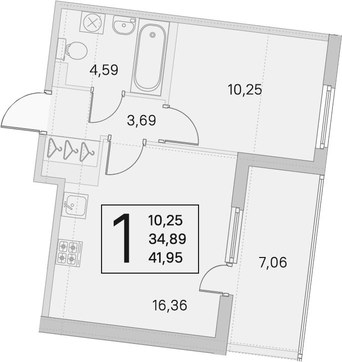 2Е-комнатная, 34.89 м²– 2