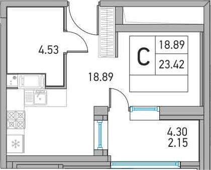 Студия, 27.72 м²