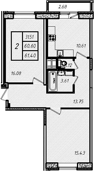 2-к.кв, 60.67 м², 10 этаж