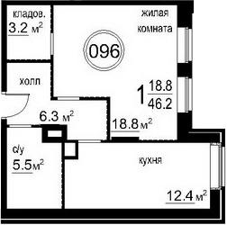 1-к.кв, 46.2 м²