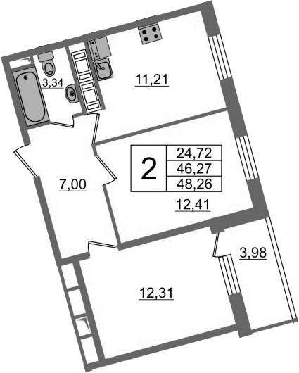 2-к.кв, 50.25 м²