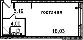 Студия, 27.22 м², 28 этаж
