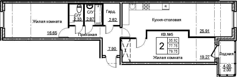 3-к.кв (евро), 81.75 м²