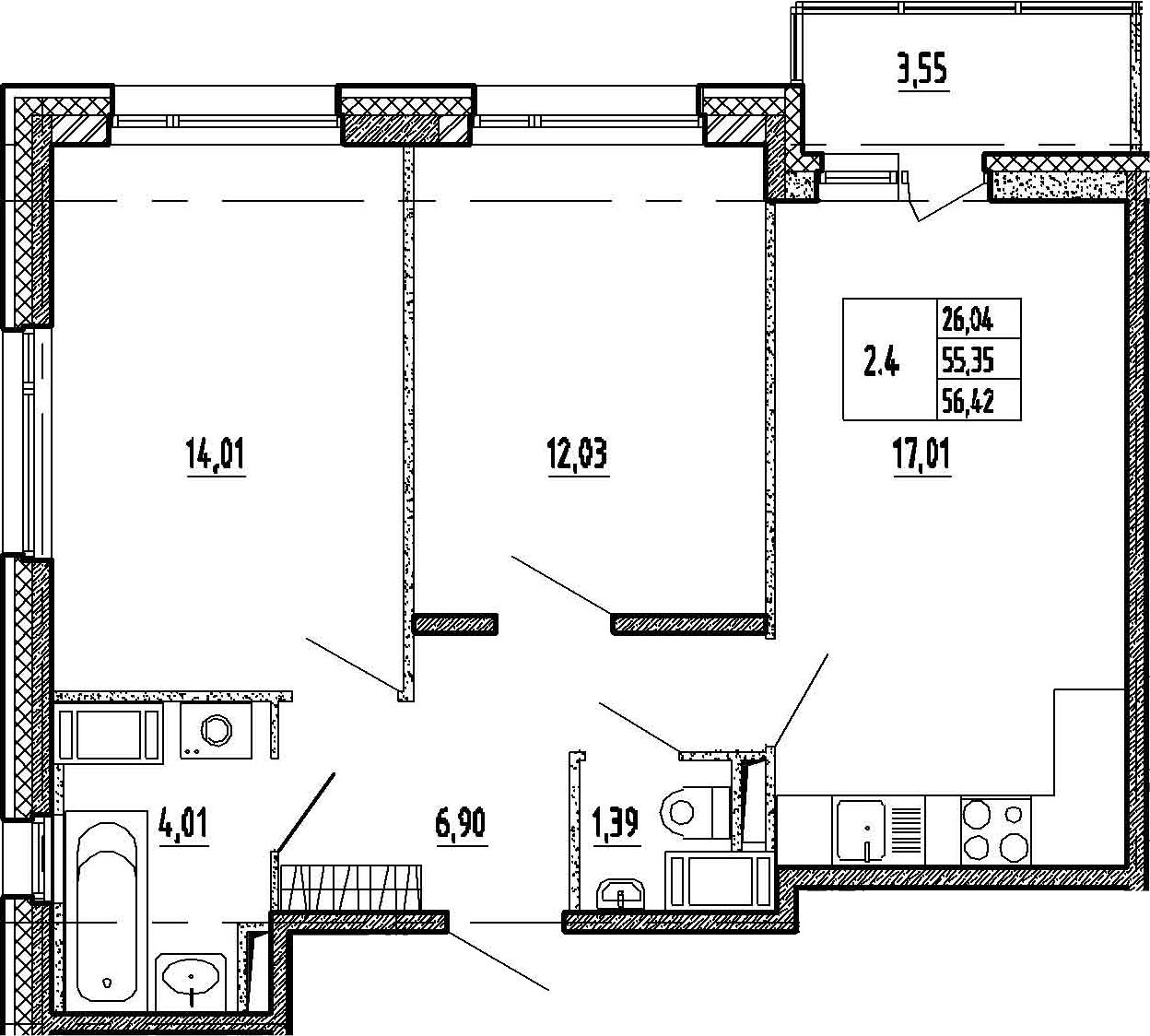 3-к.кв (евро), 58.9 м²
