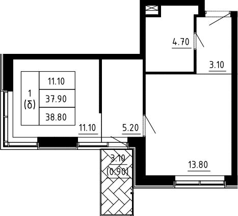 1-к.кв, 38.8 м², 2 этаж