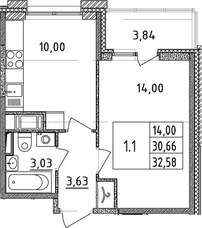 1-к.кв, 30.66 м²