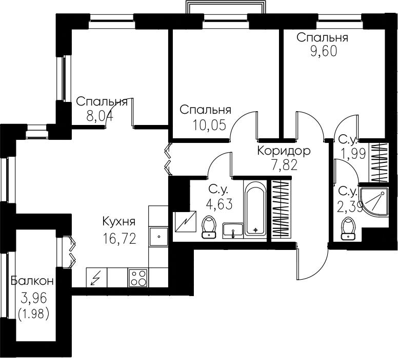 4Е-комнатная, 63.22 м²– 2