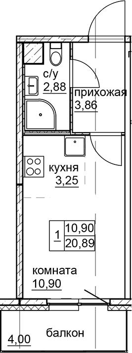 Студия, 20.89 м²
