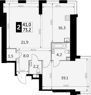 2-комнатная, 73.2 м²– 2