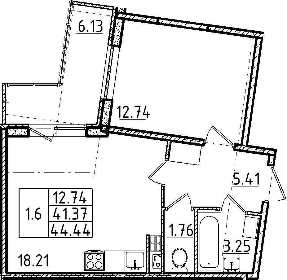 2Е-комнатная, 44.44 м²– 2