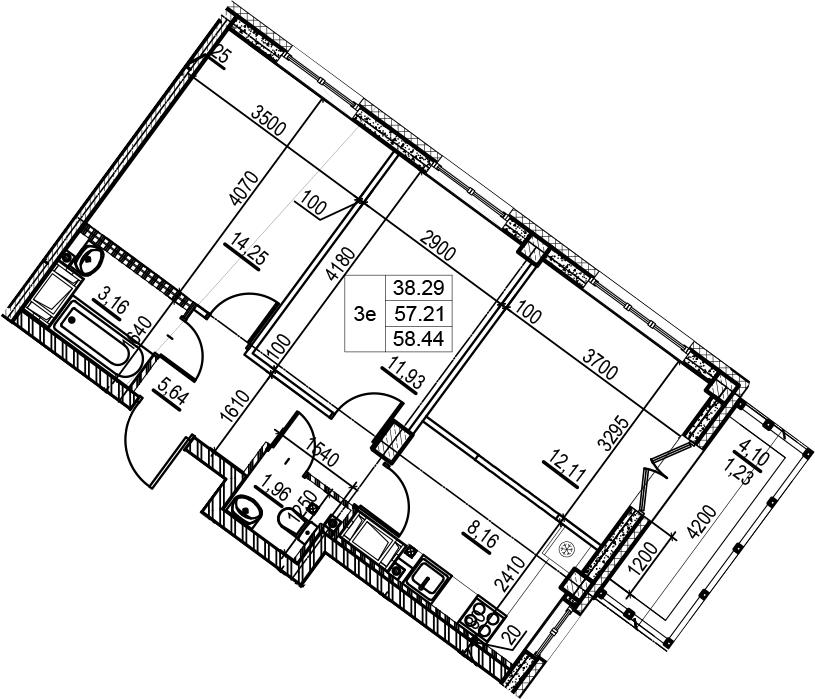 3Е-к.кв, 58.44 м², 8 этаж