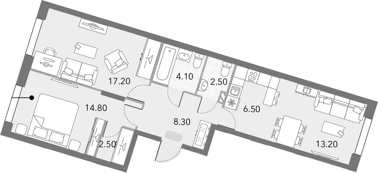 3Е-к.кв, 69.1 м²