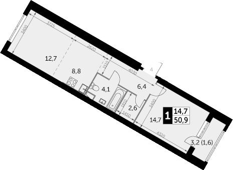 1-к.кв, 50.9 м², 24 этаж
