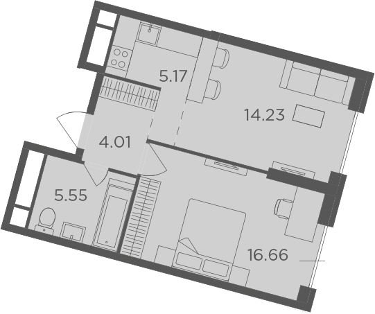 2Е-к.кв, 45.62 м²