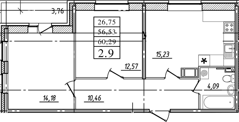 3Е-комнатная, 56.53 м²– 2