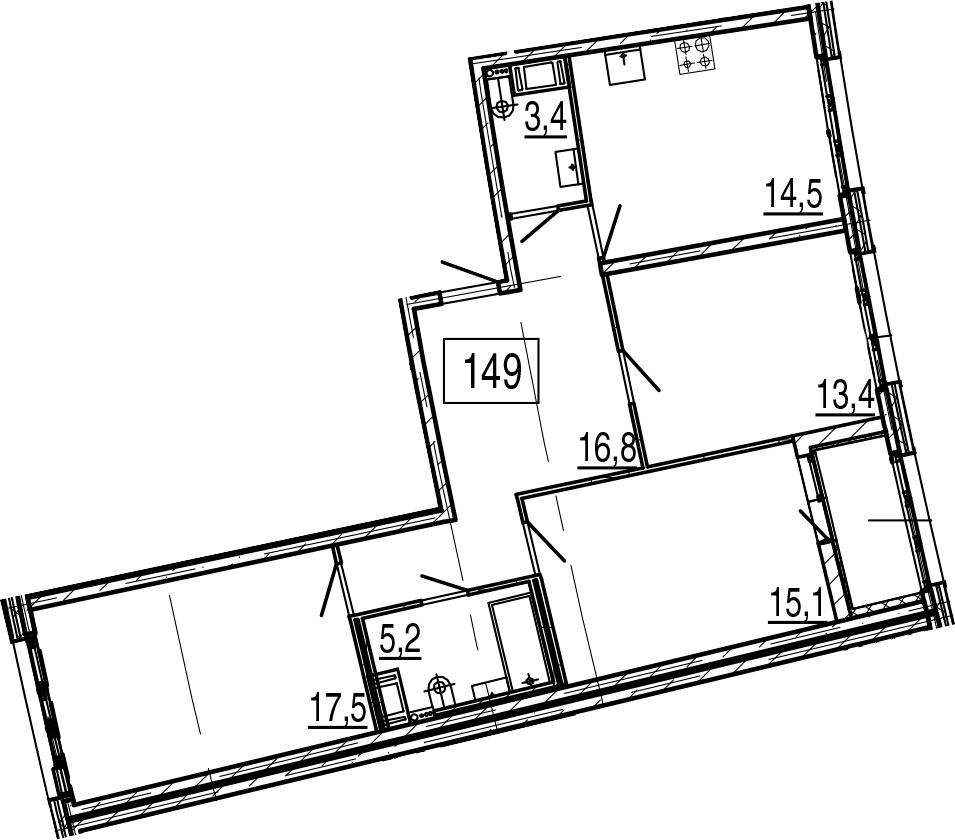 3-к.кв, 89.3 м²