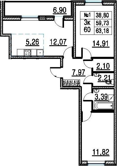 3Е-к.кв, 59.73 м²