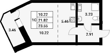 Студия, 25.28 м²