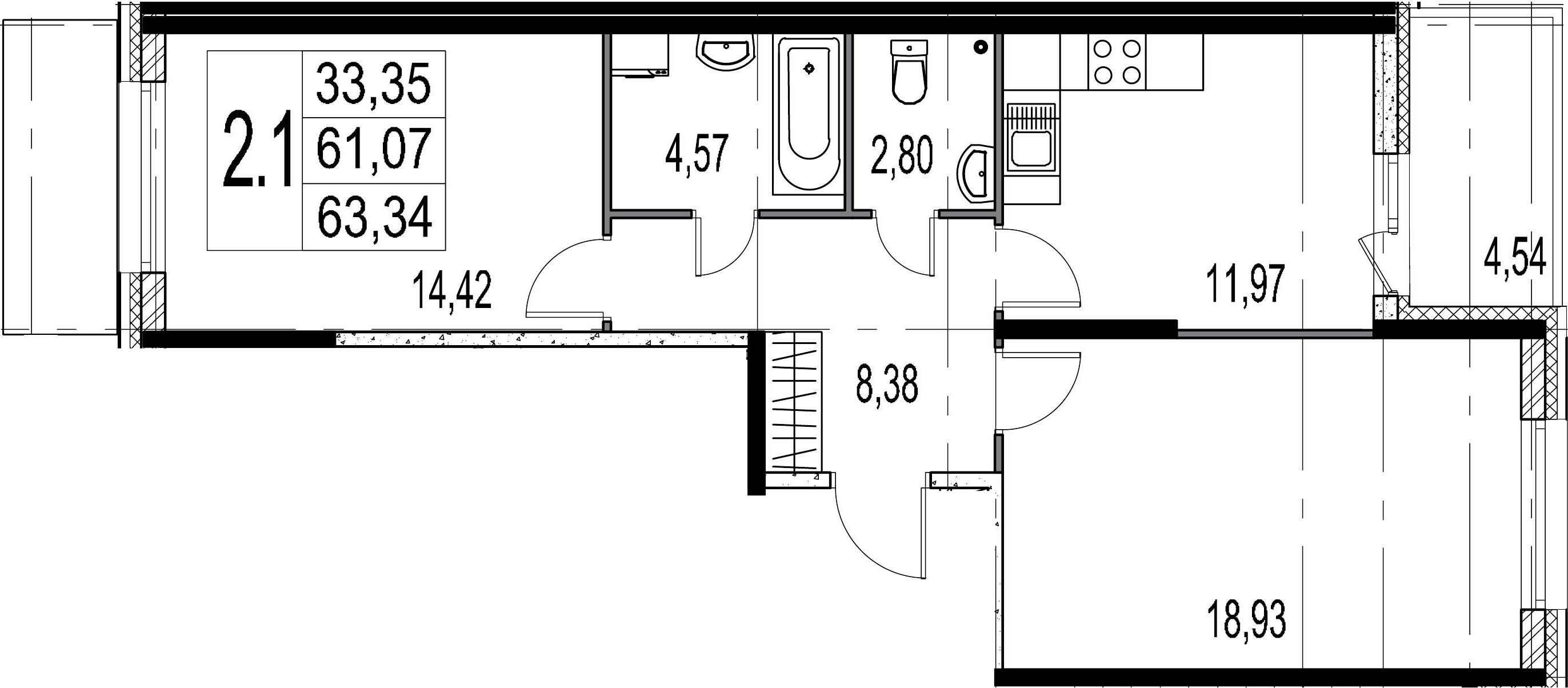 2-комнатная, 61.07 м²– 2