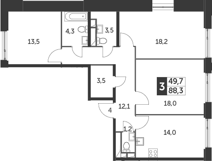 3-к.кв, 88.3 м²