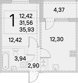 1-к.кв, 33.75 м², 4 этаж
