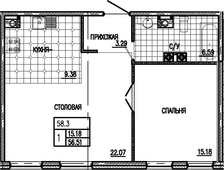 2Е-комнатная, 56.51 м²– 2
