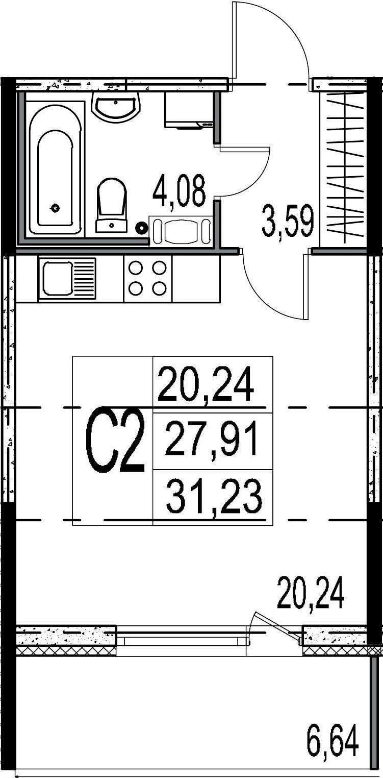 Студия, 27.91 м², 5 этаж