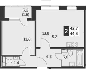 2Е-комнатная, 44.3 м²– 2