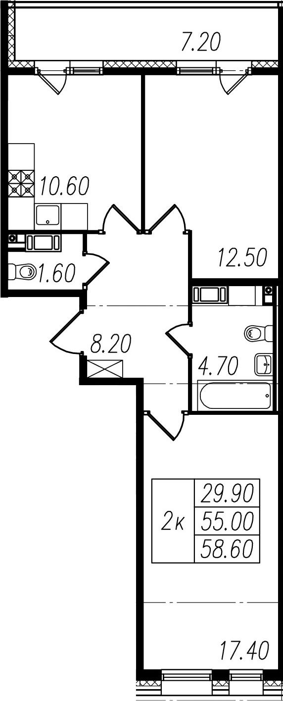 2-к.кв, 55 м², 9 этаж